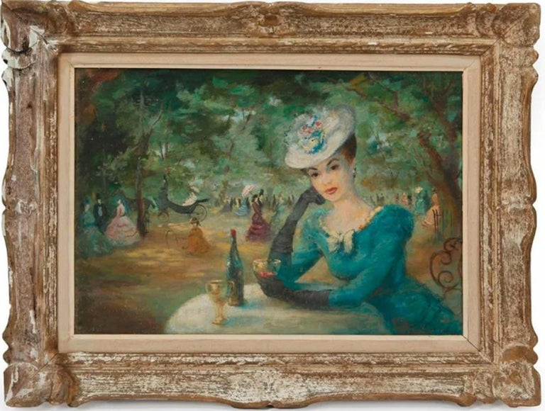 Lady in the Paris Park - Painting by Addison