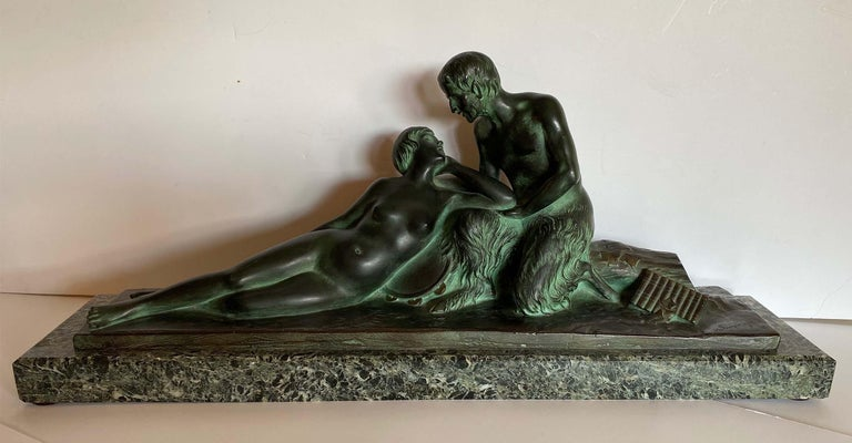 H. Fonquergne Nude Sculpture - Pan and His Muse