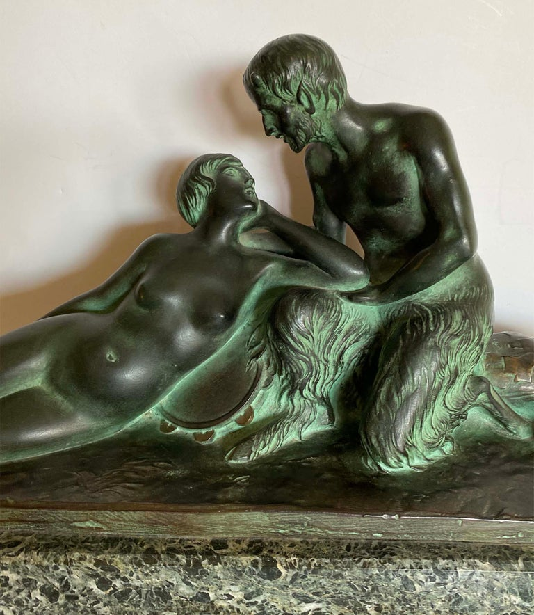 Pan and His Muse - Art Deco Sculpture by H. Fonquergne