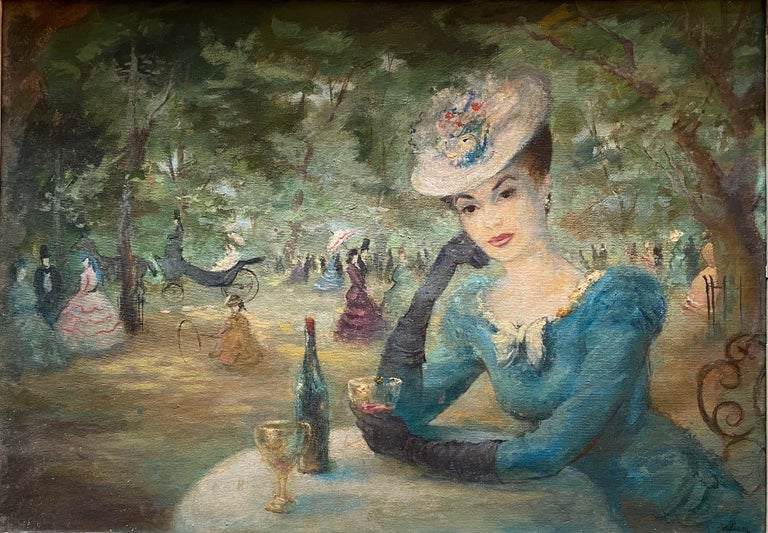 Addison Figurative Painting - Lady in the Paris Park