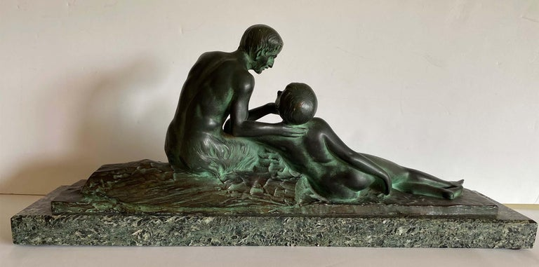 Pan and His Muse - Sculpture by H. Fonquergne