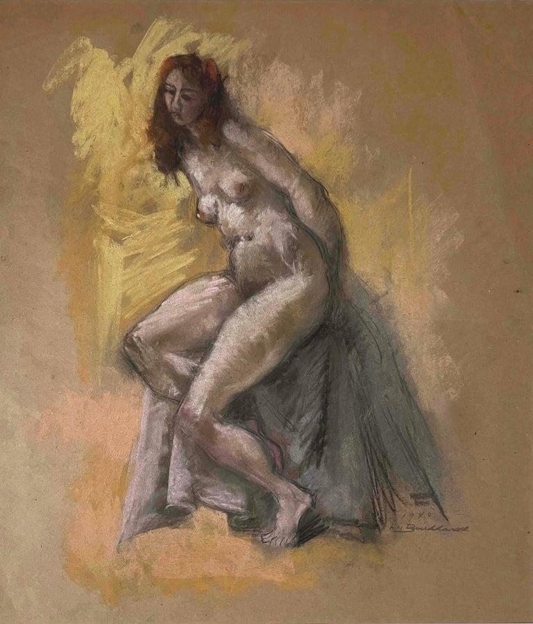 Hans Burkhardt Nude Painting - Seated Nude