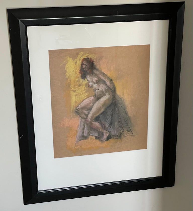 Seated Nude - Art Deco Painting by Hans Burkhardt