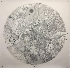 Behold, Halsey Chait, Large Abstract India Ink Drawing on Paper, Circle