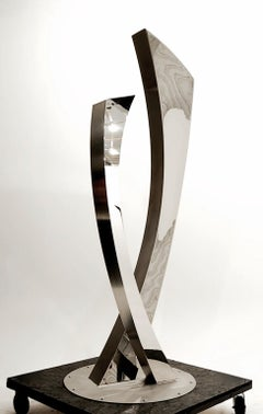 """Emerging"", Large Minimalist Abstract Sculpture in Polished Stainless Steel"