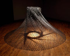 """Aperture"" Abstract, Metal Chain Link Sculpture by John Ruppert"