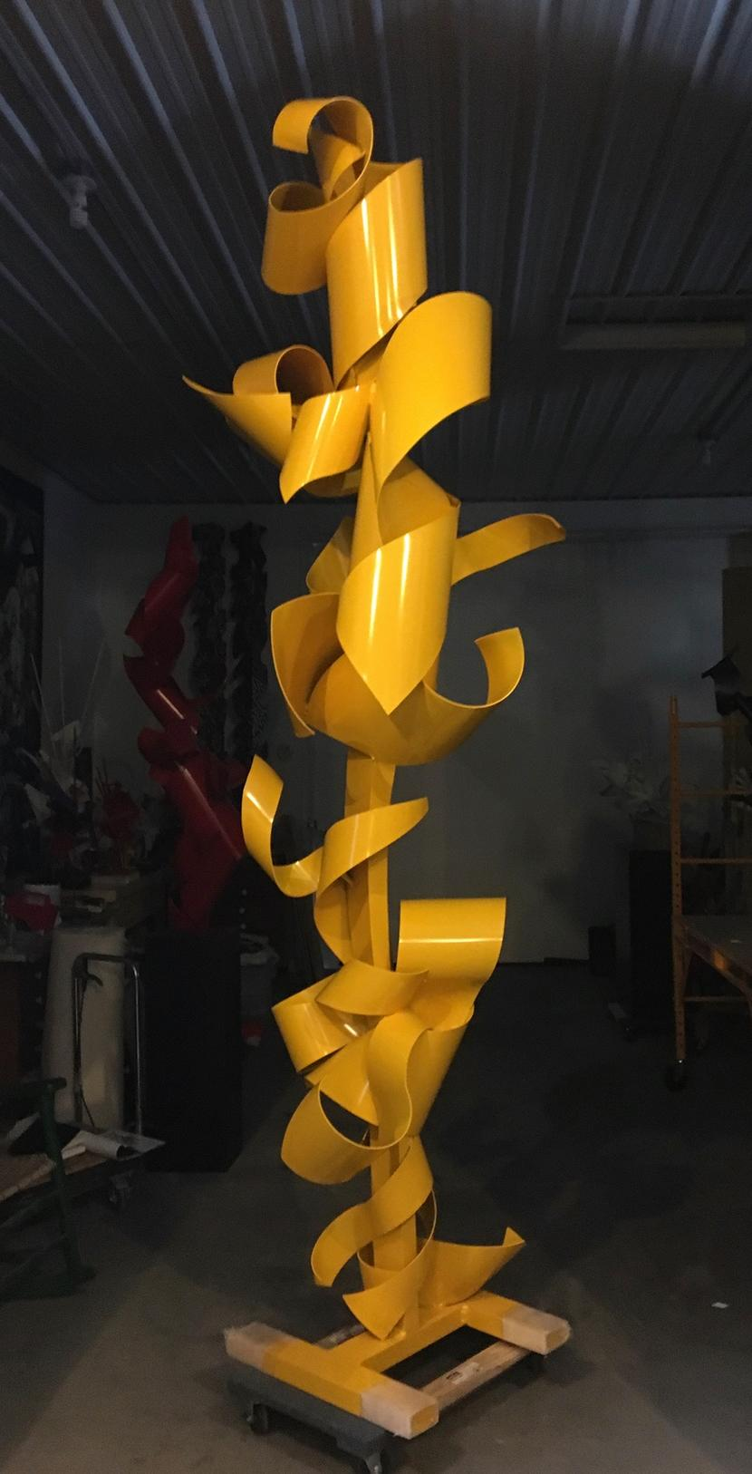 """""""Back from the Yellow Brick Road"""" Large-Scale, Abstract Metal Sculpture, Yellow"""