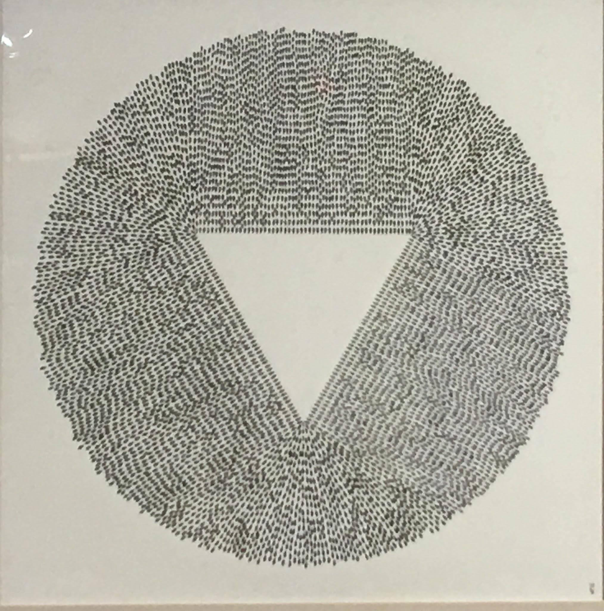 Magnetic Triangulation, Halsey Chait, Abstract Ink Drawing, Circle, Triangle
