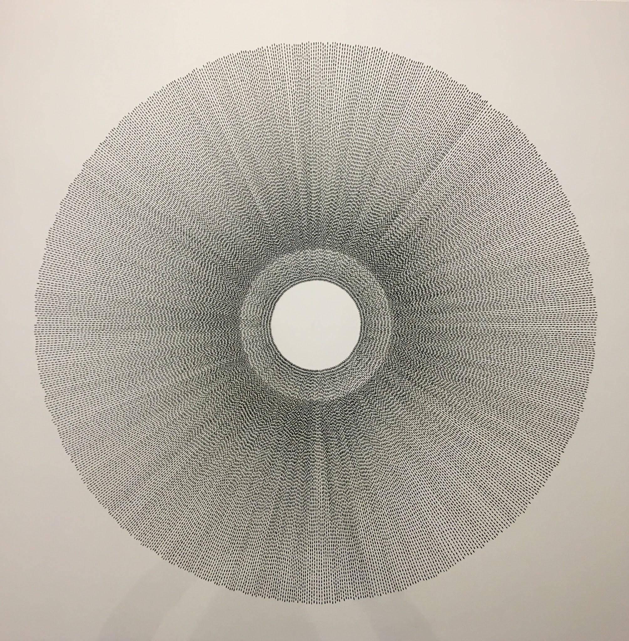 Rainsun III, Halsey Chait, Large Abstract Ink Drawing, Circle, Black, White
