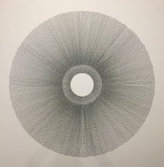 Rainsun III, Halsey Chait, Large Abstract Ink Drawing, Circle, Black, White