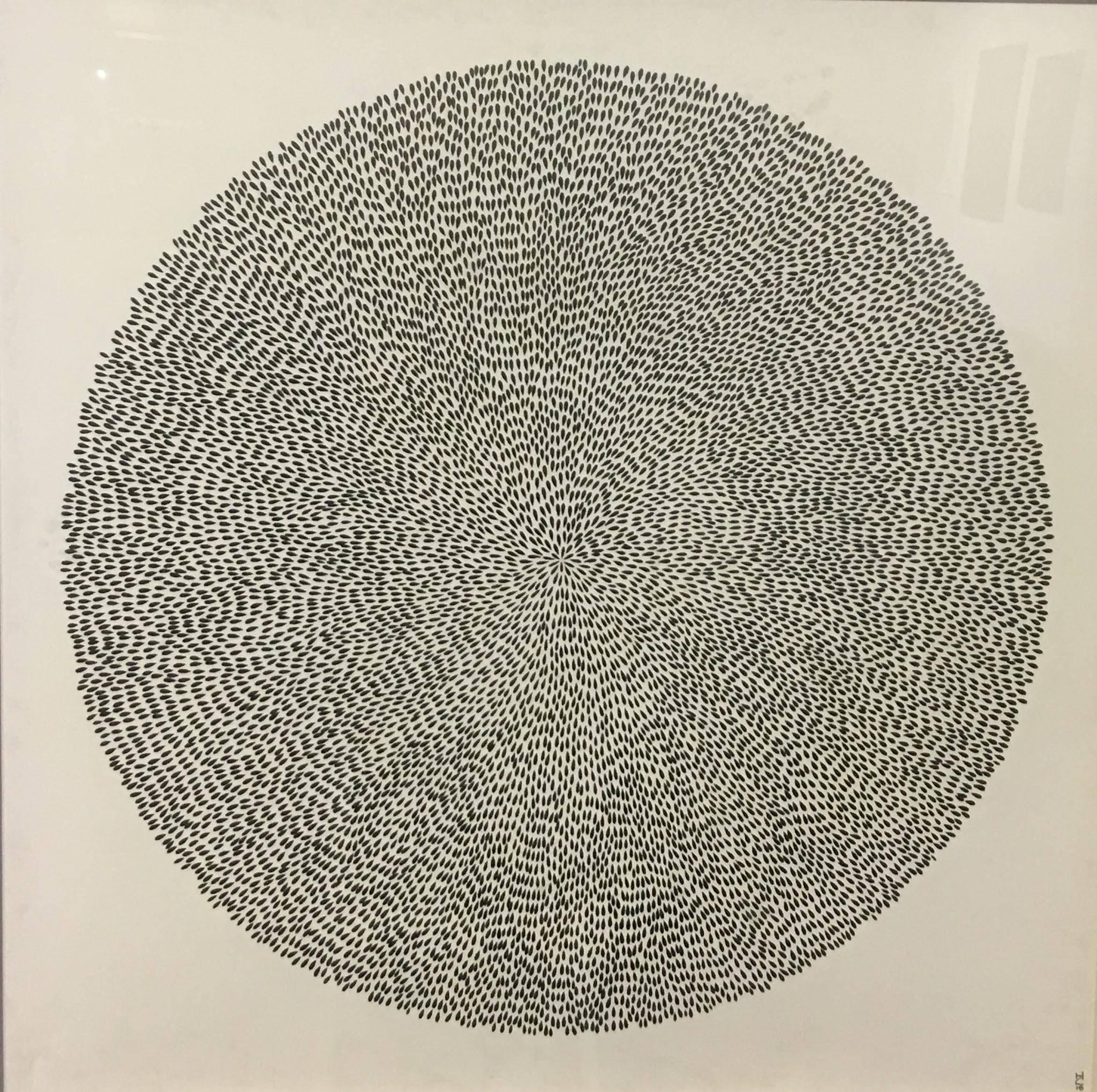 Singularity, Halsey Chait, Abstract India Ink Drawing, Circle, Black, White