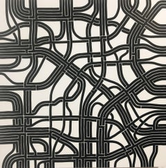 Synaptic Roots I, Halsey Chait, Large Abstract Drawing, Black, White, Network