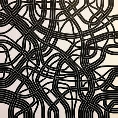 Synaptic Roots II, Halsey Chait, Large Abstract Drawing, Black, White, Network