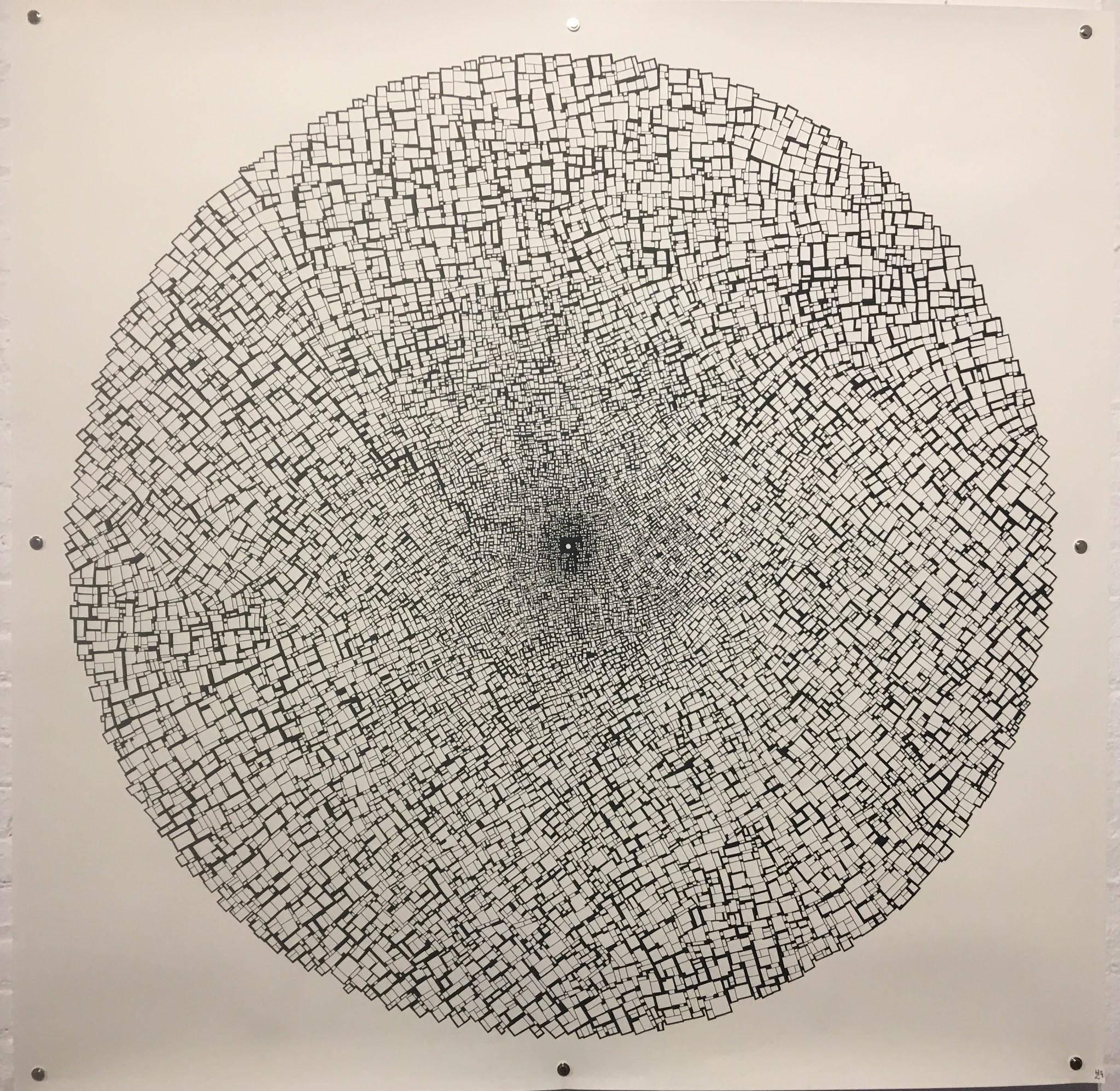 The Big City, Halsey Chait, Abstract India Ink Drawing, Circle, Black, White