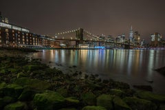 """Brooklyn Bridge at Night"", Urban Cityscape, Color Photography, New York City"
