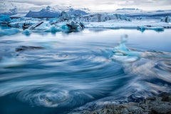 """Iceswirl, Iceland"", Color Nature Photography, Landscape, Impressionist, Blue"