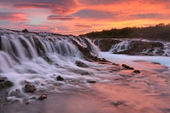 """Midnight Sun, Iceland"", Color Nature Photography, Landscape, Waterfall, Pink"