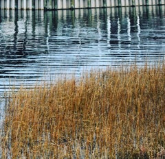 """Reflection 1"", Color Nature Photography, Landscape, Grass, Reeds, Water"
