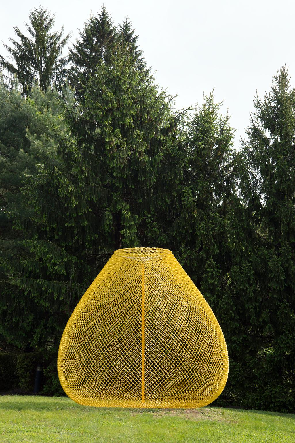 """Yellow"" Abstract, Metal Chain Link Sculpture by John Ruppert"
