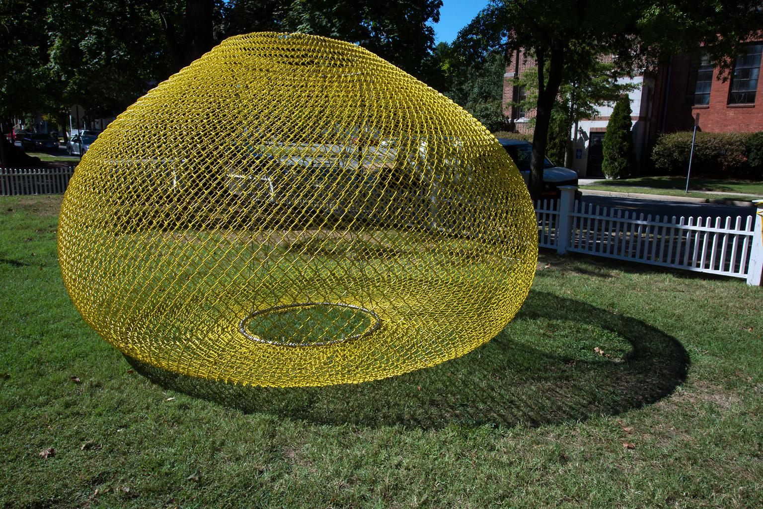 """""""Yellow Gourd"""" Abstract, Metal Chain Link Sculpture by John Ruppert"""