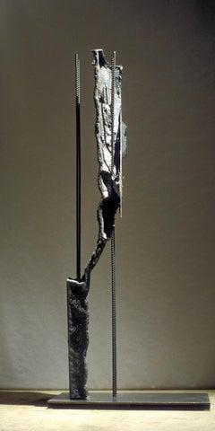 """""""Positive Crack"""" Abstract, Cast Iron Metal Sculpture by John Ruppert"""