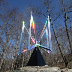 """Pulsar"" Abstract Kinetic Holographic Metal Sculpture by Robert Perless"