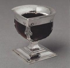 Omar Ramsden Silver mounted minature Mazer bowl circa 1925