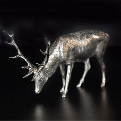 """Sterling Silver model of a """"Grazing Stag"""" by Hancocks"""