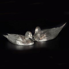 """A Pair of Half size Sterling Silver """"Pintail Ducks"""" with black Onyx Eyes"""