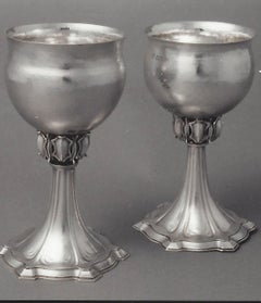 Omar Ramsden Pair of silver goblets circa 1928 and 1930
