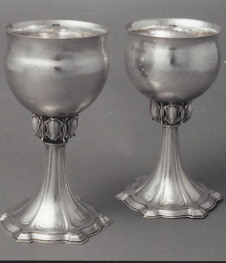 Omar Ramsden Pair of silver goblets circa 1928 and 1930  - Art by Omar Ramsden
