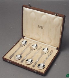 Set of Six Silver tea spoons by Omar Ramsden London circa 1931
