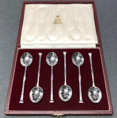 Six Silver Coffee spoons by Omar Ramsden circa 1933