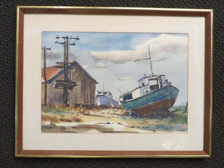 Pair  Scene Harbor Watercolor - Art by John Wiese