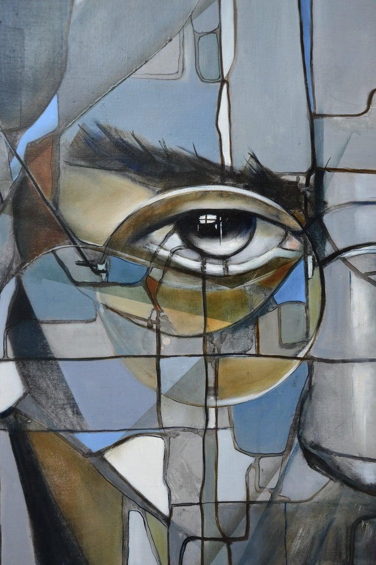 Steve II - Gray Portrait Painting by Fréderique Assaël