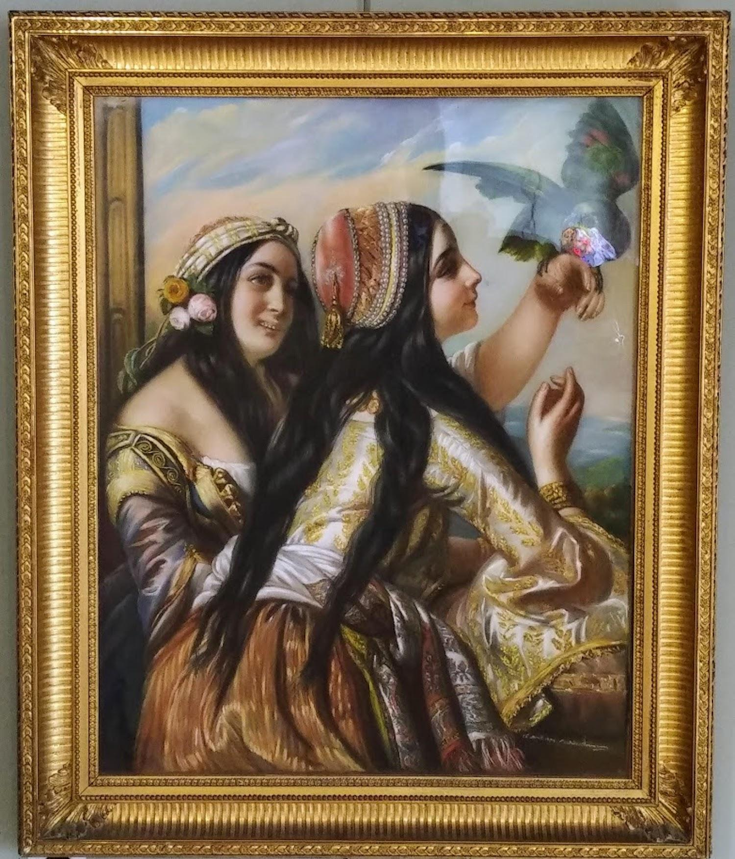 Orientalist women playing with a Green Parot, French, XIXst century circa 1870