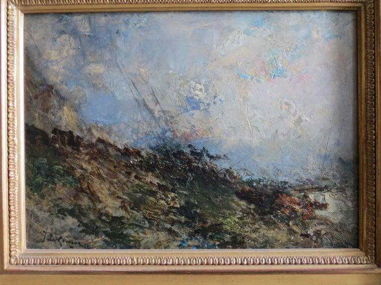 Seescape Bretany signed Karnec - Gray Figurative Painting by Karnec Jean Etienne