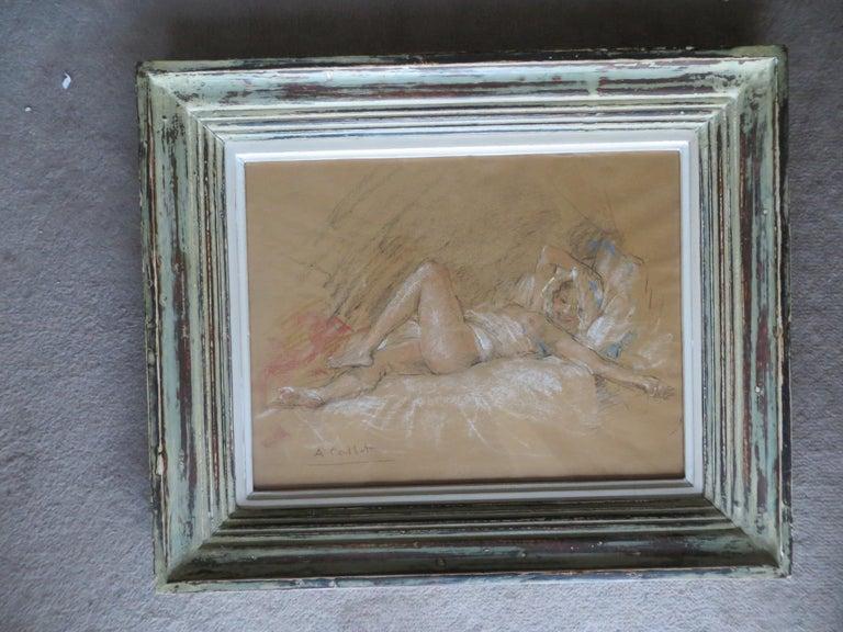 Nude Slumbers - Gray Figurative Art by Antoine Calbet