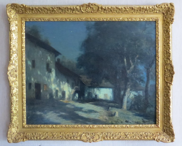 Francois Charles CACHOUD Figurative Painting - Moonlight in Savoie France signed Cachoud