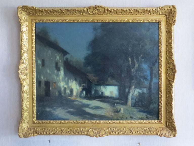 Moonlight in Savoie France signed Cachoud - Painting by Francois Charles CACHOUD