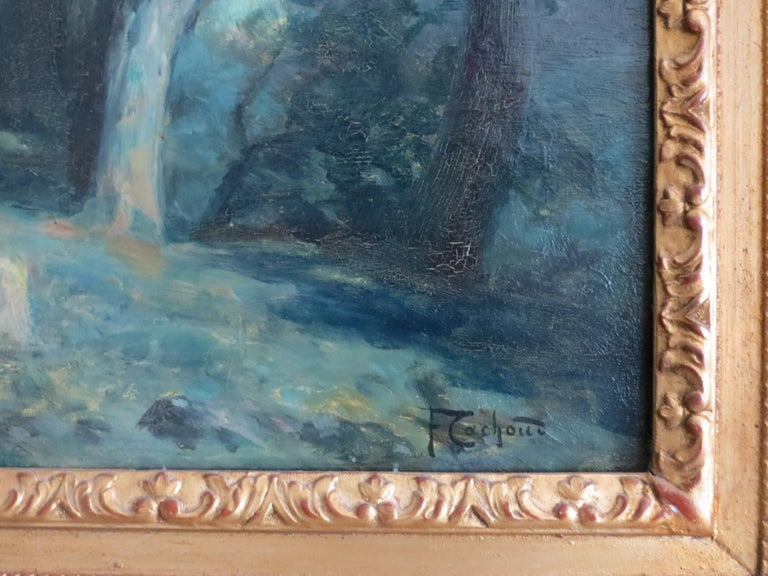 Moonlight in Savoie France signed Cachoud - Impressionist Painting by Francois Charles CACHOUD