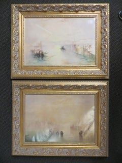 After Turner Pair of Venetian Canal Scenes