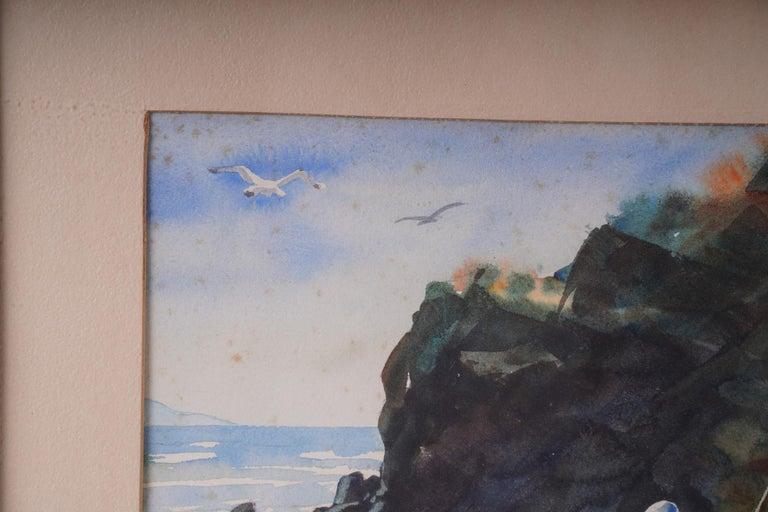 Pair  Scene Harbor Watercolor - Post-Modern Art by John Wiese