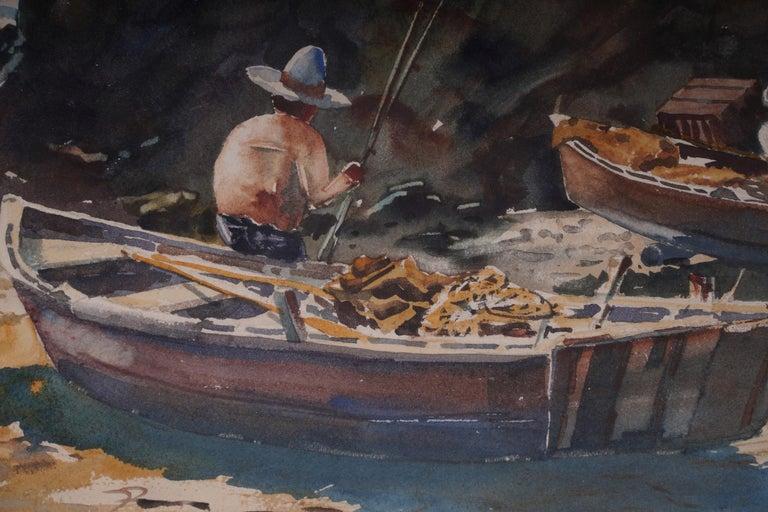 Pair  Scene Harbor Watercolor - Brown Figurative Art by John Wiese