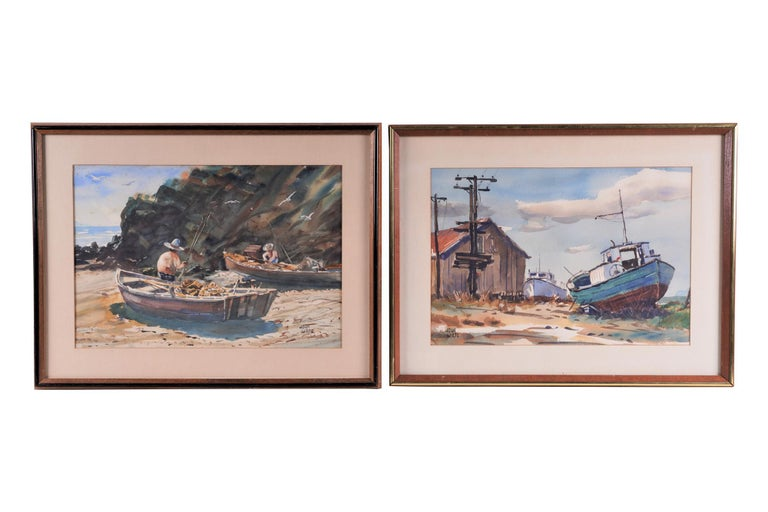 John Wiese Figurative Art - Pair  Scene Harbor Watercolor