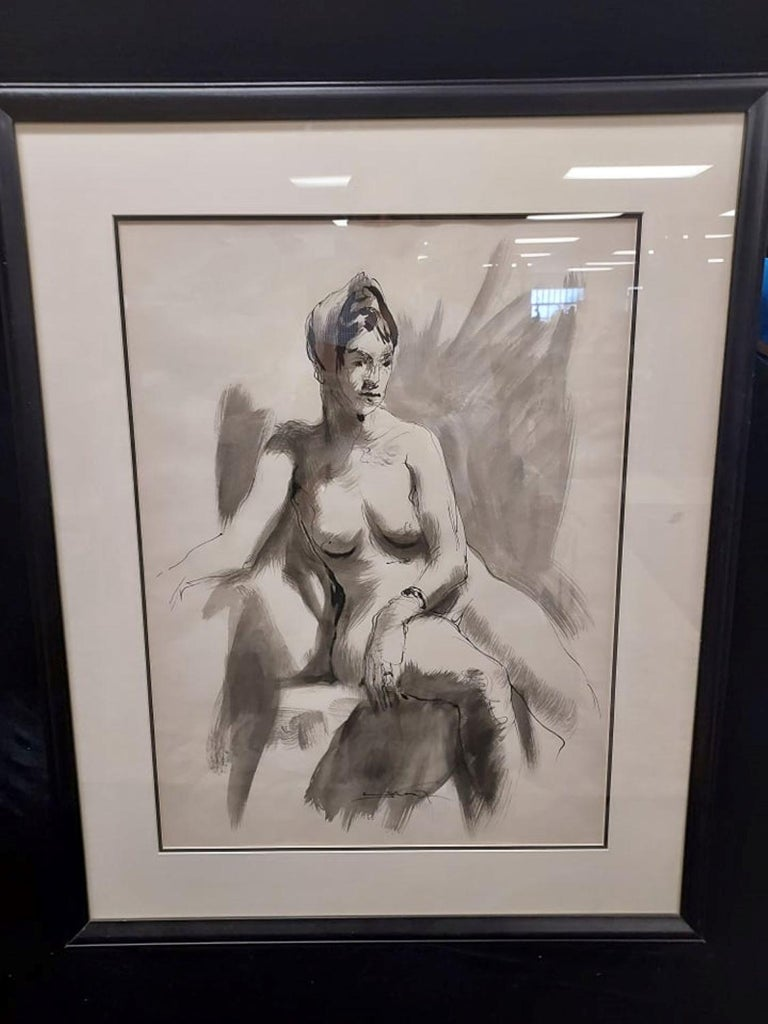 Seated Nude  Ink and Wash Drawing by Emil Kosa Jr - Art by Emil Kosa Jr.