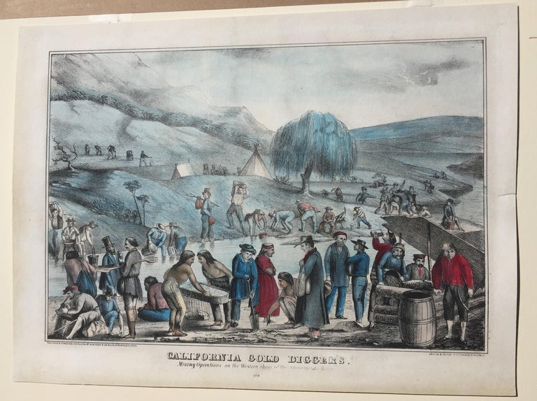 CALIFORNIA GOLD RUSH - c. 1849 - Early  CALIFORNIA GOLD DIGGERS - Mining Operations on the Western Shore of the Sacramento River, 1849 (Finley 111) Lithograph published by Kellogg & Comstock, New York & Hartford Conn. Ensign & Thayer, Buffalo.