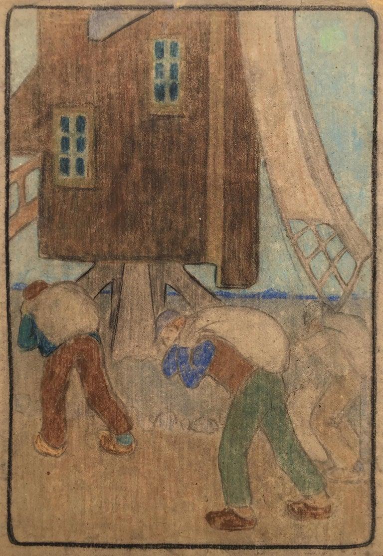 Bror Julius Olsson Nordfeldt Figurative Art - WINDMILL AND WORKERS (Large Pastel)
