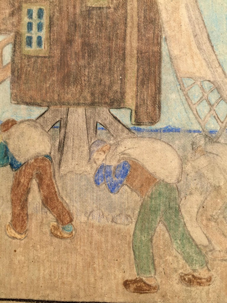 """B.J.O. NORDFELDT (Swedish/American 1878 – 1955)            (WINDMILL AND WORKERS). c.1900. Color pastel on colored paper,             unsigned. 22 ¼ x 15"""". Sheet: 24 ½ x 18 ¼"""".  In 1900 Nordfeldt studied in             Paris and then headed to"""
