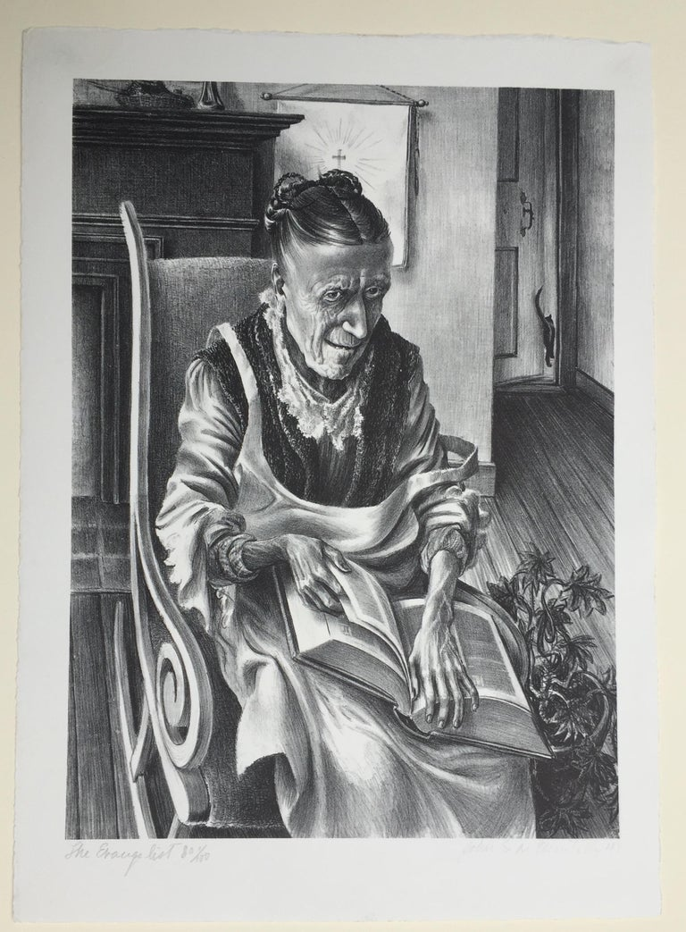 JOHN STOCKTON DE MARTELLY (American 1903 - 1980)  THE EVANGELIST, 1941 (Zink 19) Lithograph, signed, dated and numbered 80/100 in pencil below image. Signature and date in lighter pencil. Image.  Very Good Condition. image, 13 1/2 x 9 3/4
